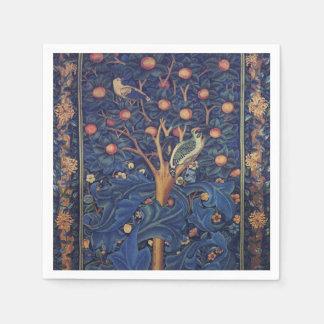 Vintage Tapestry Birds Floral Design Woodpecker Napkin