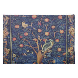 Vintage Tapestry Birds Floral Design Woodpecker Placemat