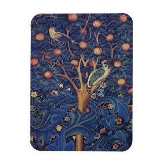 Vintage Tapestry Birds Floral Design Woodpecker Rectangular Photo Magnet