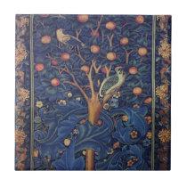 Vintage Tapestry Birds Floral Design Woodpecker Tile