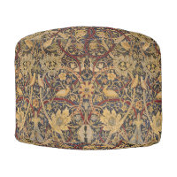 Vintage Tapestry Floral Fabric Pattern Pouf