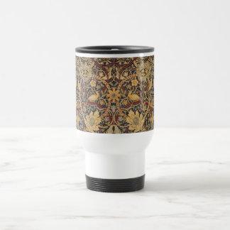 Vintage Tapestry Floral Fabric Pattern Travel Mug