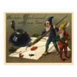 """Vintage tarjeta de año nuevo """"enanos """" tarjeta postal"""