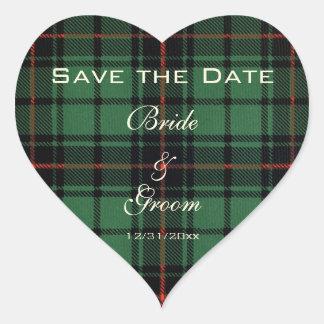 Vintage Tartan, Davidson Modern Pattern Wedding Heart Sticker