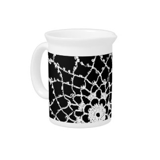 Vintage Tatted Lace Beverage Pitcher