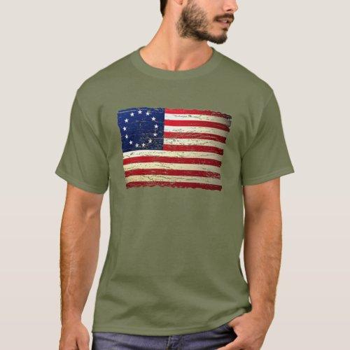 Vintage Tattered Betsy Ross American Flag T_shirt