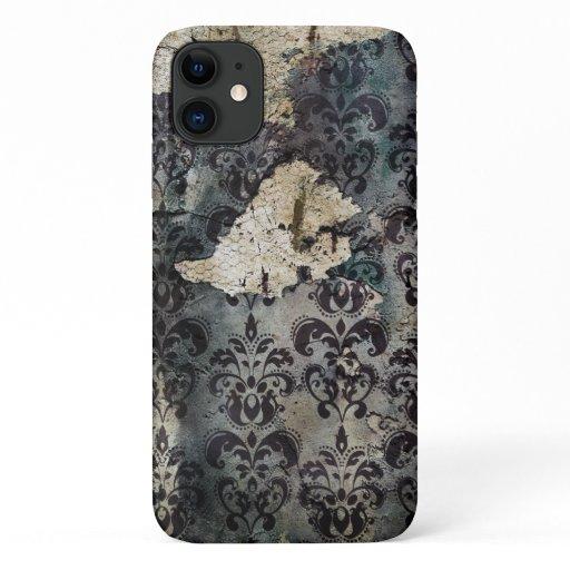Vintage Tattered Black Torn Abused Wallpaper iPhone 11 Case
