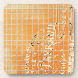 Vintage Tattered French Store Receipt Drink Coaster