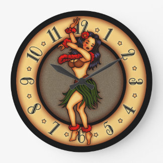 Vintage Tattoo Art Hula Dancer Large Clock