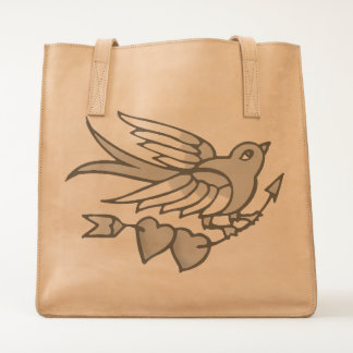 Vintage Tattoo Bird Hearts Tote