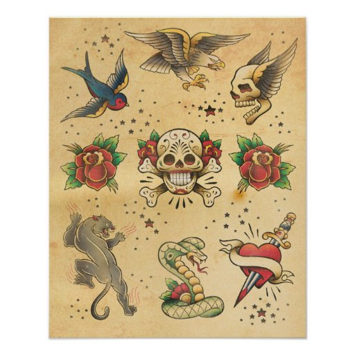 Vintage tattoo flash poster - Mobeltattoo vintage ...