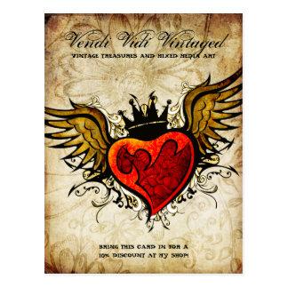Vintage Tattoo Heart Urban Postcard