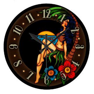 Vintage Tattoo Island Sunset Wall Clocks