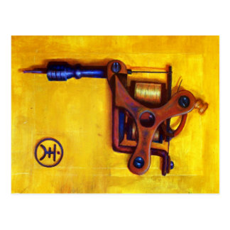 Vintage Tattoo Machine (Yellow) Postcard