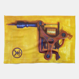 Vintage Tattoo Machine (Yellow) Towels