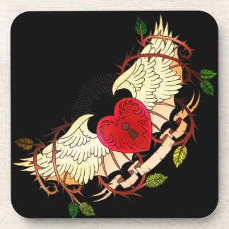 vintage tattoo of a winged heart coasters