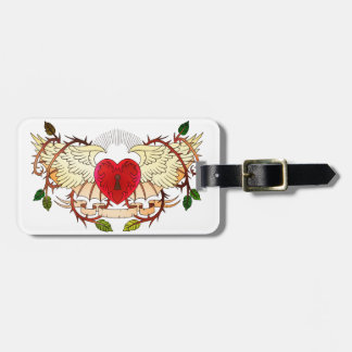 vintage tattoo of a winged heart tags for luggage