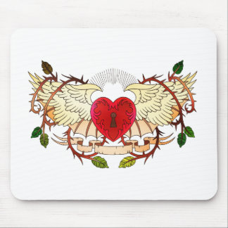 vintage tattoo of a winged heart mouse pad