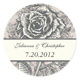 Vintage Tattoo Rose Wedding Label Sticker sticker