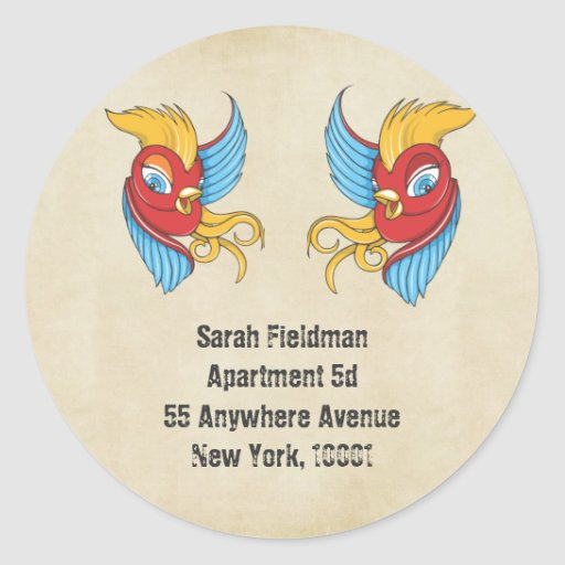 Vintage Tattoo Swallow Name Address Label Sticker