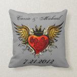 Vintage Tattoo Wedding Keepsake Pillow