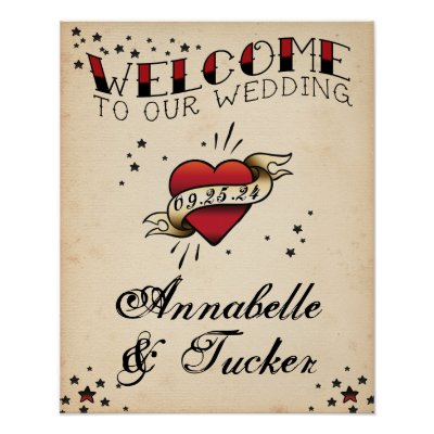 Vintage Tattoo Welcome to Our Wedding Sign