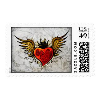 Vintage Tattoo Winged Heart  Postage