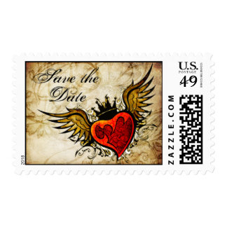 Vintage Tattoo Winged Heart Save the Date Postage