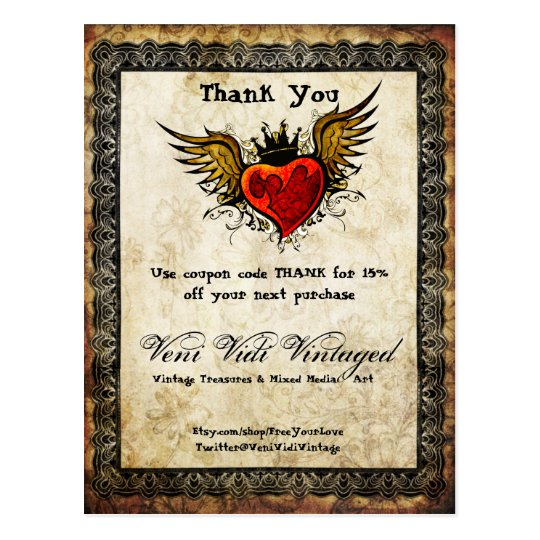 Vintage Tattoo Winged Heart Thank You Coupon Postcard