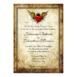"""Vintage Tattoo Winged Heart Wedding Invitation 5"""" X 7"""" Invitation Card"""