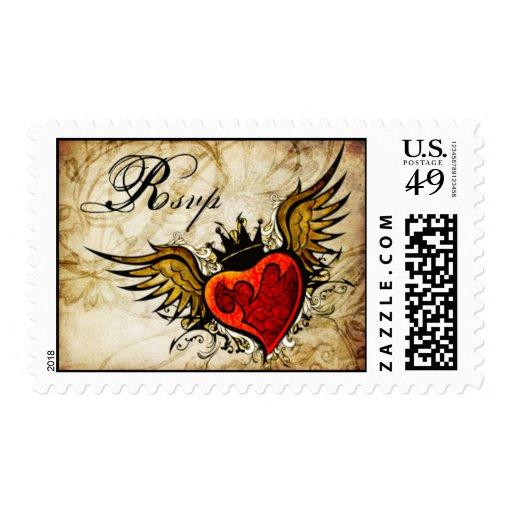 Vintage Tattoo Winged Heart Wedding RSVP postage