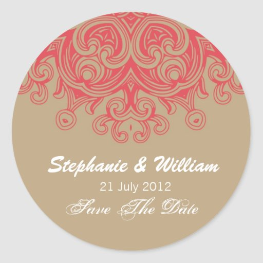 Vintage Taupe and Red Wedding Sticker