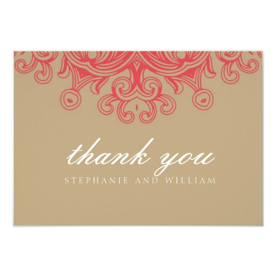 Vintage Taupe and Red Wedding Thank You Card