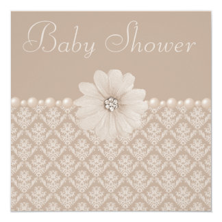 Vintage Taupe Damask, Flowers & Pearls Baby Shower Card