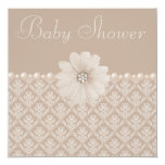 Vintage Taupe Damask, Flowers & Pearls Baby Shower 5.25x5.25 Square Paper Invitation Card