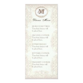 Vintage Taupe Lace - Menu or Wedding Invitation