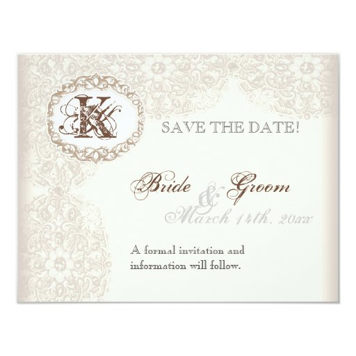 Vintage Taupe Lace - Save the Date Card