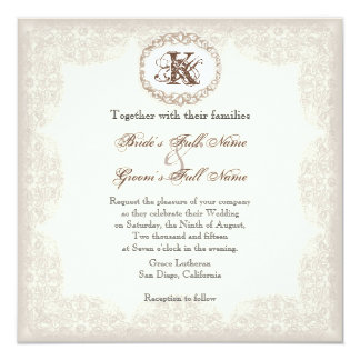 Vintage Taupe Lace - Wedding Invitation