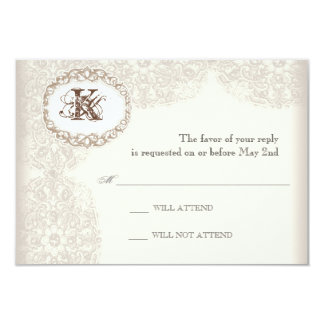 Vintage Taupe Lace - Wedding Response Card