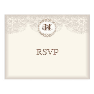 Vintage Taupe Lace - Wedding Response Postcard
