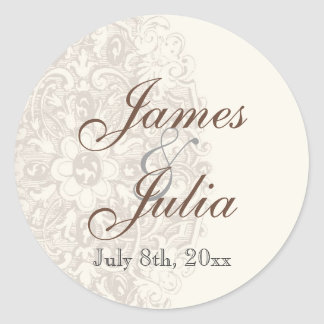 Vintage Taupe Lace - Wedding Seal Round Sticker