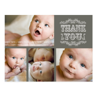 VINTAGE Taupe Photo Baby Thank You Post Card