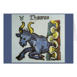 Vintage Taurus Bull, Antique Signs of the Zodiac Greeting Card