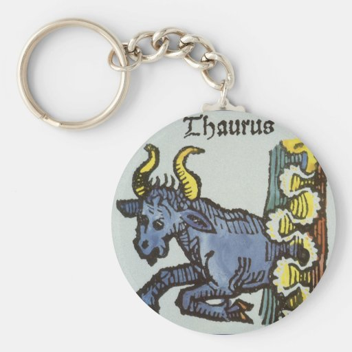 Vintage Taurus Bull, Antique Signs of the Zodiac Keychain