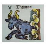 Vintage Taurus Bull, Antique Signs of the Zodiac Print