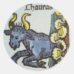 Vintage Taurus Bull, Antique Signs of the Zodiac Round Sticker