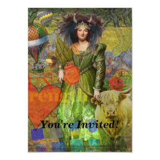 Vintage Taurus Fantasy Gothic Whimsical Collage Card