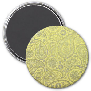 Vintage Tawny earth colored Paisley on yellow Magnet
