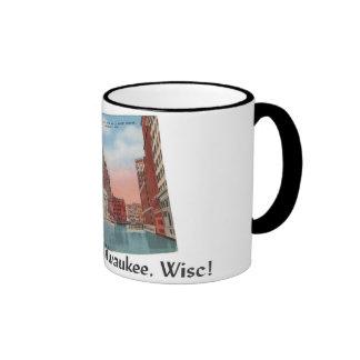 Vintage taza de la postal de Milwaukee, Wisconsin