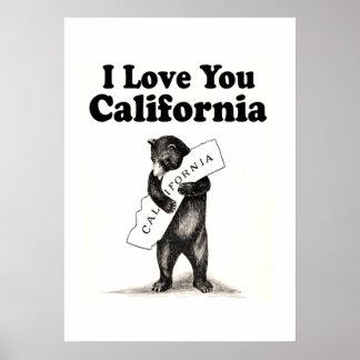 Vintage te amo California Póster